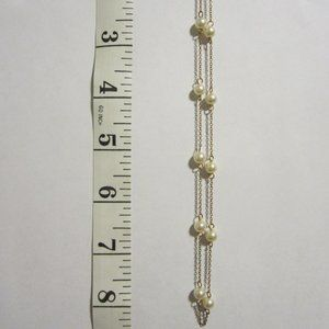 VINTAGE Girls' Pearl & Chain Necklace